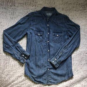 Pull&Bear men's 100% cotton blue shirt